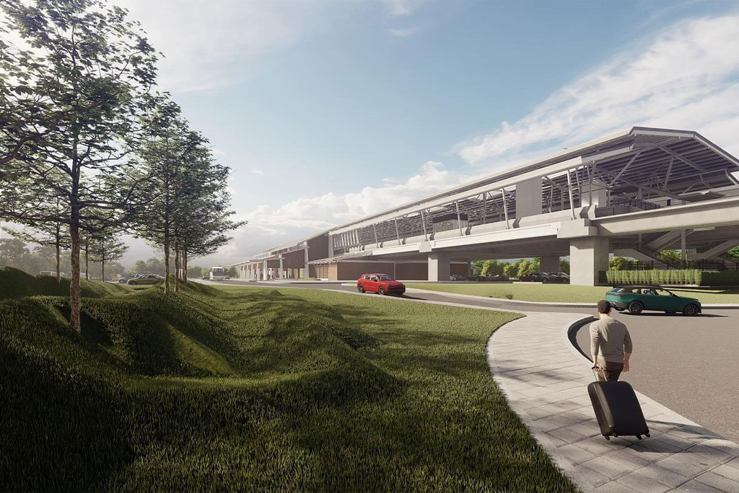 An artist's impression of a stretch of the planned airport rail system linking three airports including U-tapao airport in the Eastern Economic Corridor.