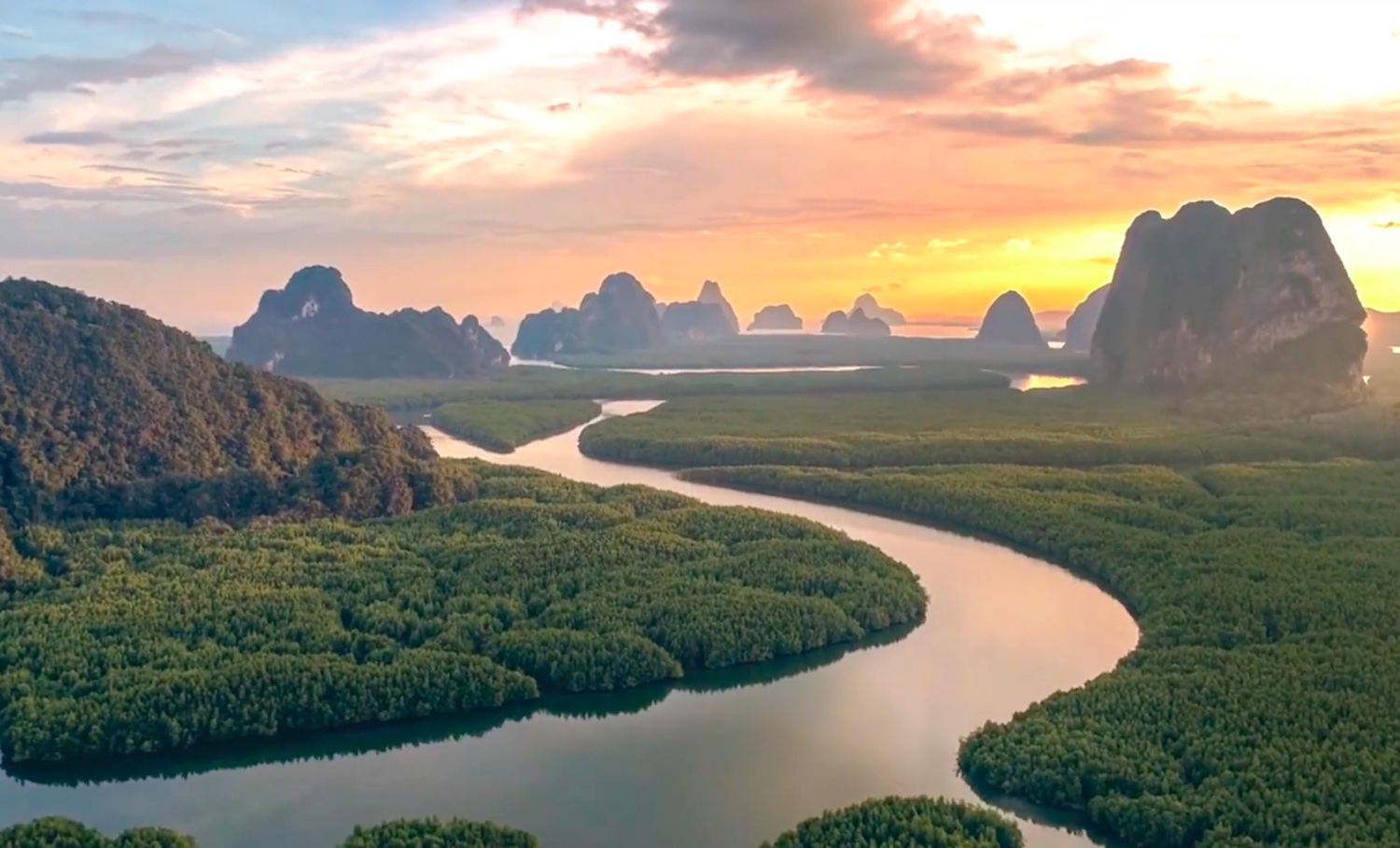 A sunset in Phangnga from the opening of the Miss You video released by the Tourism Authority of Thailand this week.