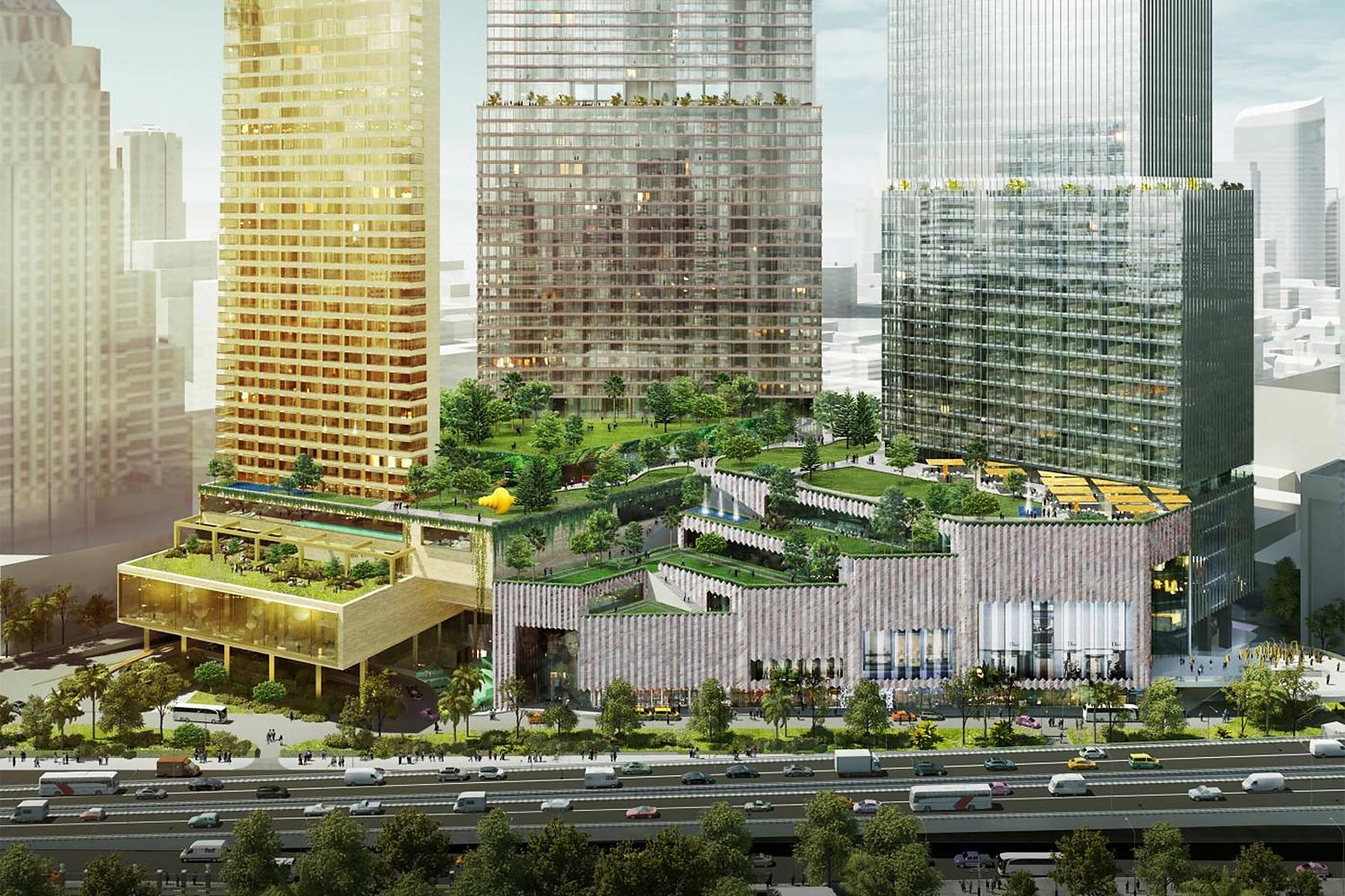 An artist's impression of Dusit Central Park which is located in the heart of the city.