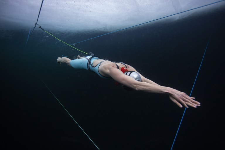 Finnish freediver Johanna Nordblad trains on March 16 ahead of breaking the under-ice freedive record on Thursday