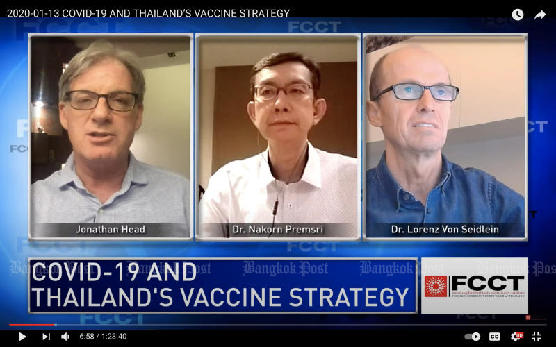 Dr Nakorn Premsri, director of the National Vaccine Institute, and Dr Lorenz Von Seidlein, a vaccine expert at the Mahidol Oxford Tropical Medicine Research Unit (MORU), join the forum on