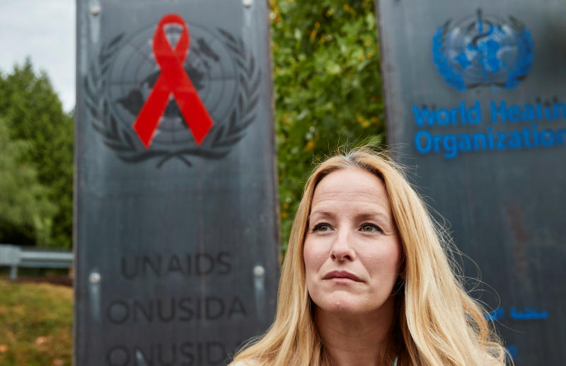 FILE PHOTO: Martina Brostrom, former policy adviser at UNAids, poses in front of the agency in Geneva, Switzerland, Aug 3, 2020. (Reuters)