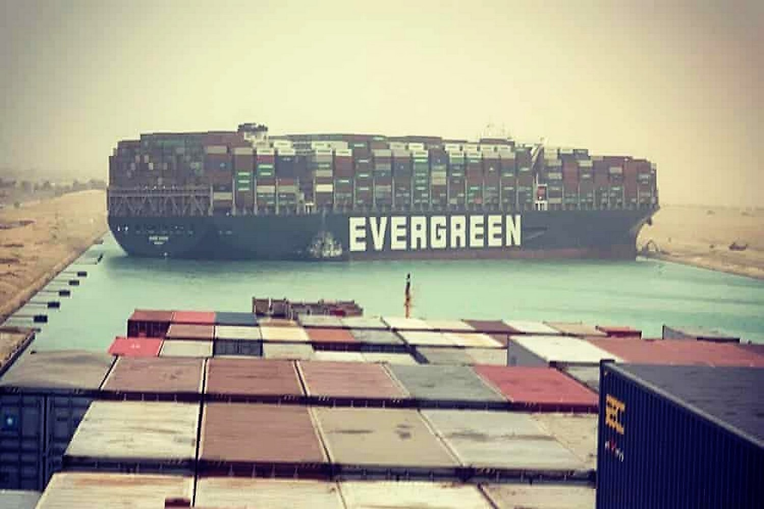 The Evergreen container ship, stuck and blocking the Suez Canal.