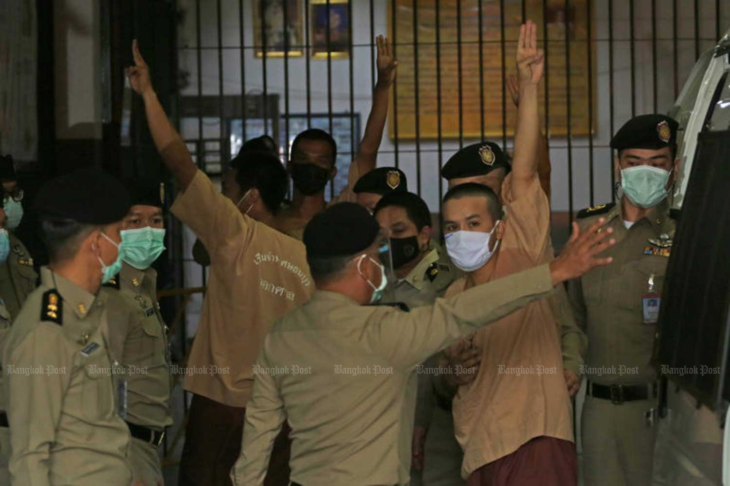 Twenty-two core members of the anti-government Rassadop group are taken to prisons on March 15. (File photo)