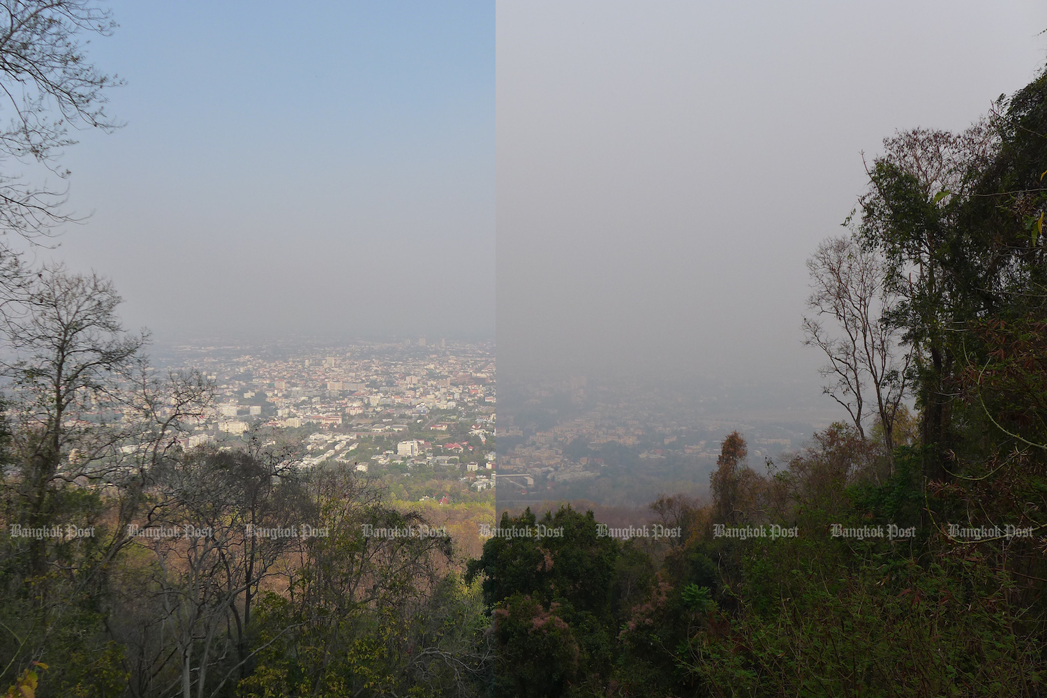Composite showing Chiang Mai city as seen from Doi Suthep on March 5 and March 10 2021, when the PM2.5 level was 70.9 and 114.4 respectively. Photo by Gary Boyle