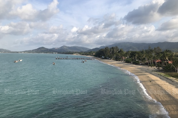 With no foreign tourists, Mae Nam beach on Koh Samui is deserted on Sunday. (Photo: Dave Kendall)