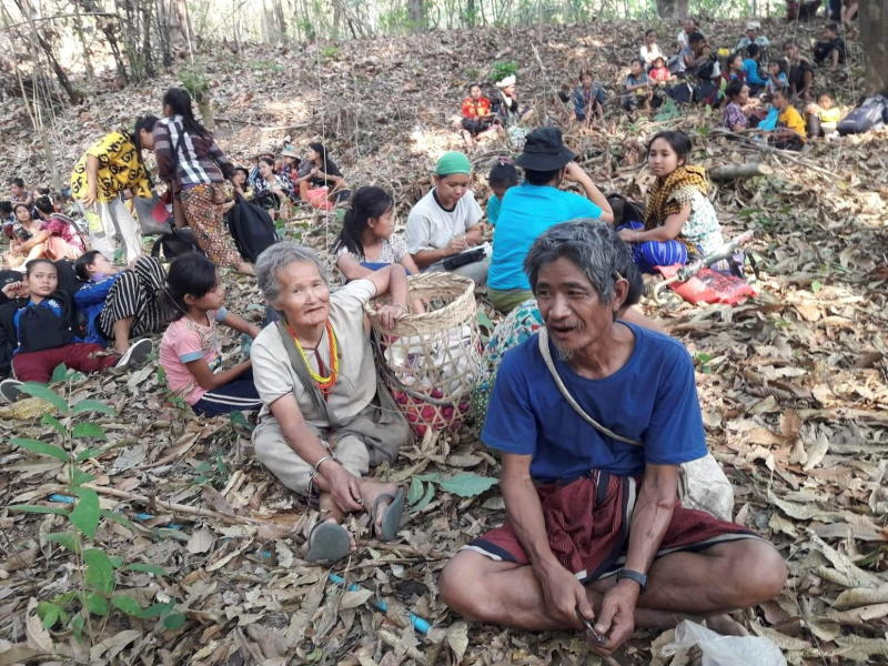 Villagers fleeing conflict in Myanmar's Karen State are pictured in an unidentified location on Sunday in this picture obtained from social media. (Karen Teacher Working Group via Reuters photo)