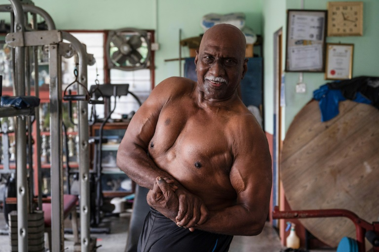 Bodybuilder A. Arokiasamy after training at his gymnasium in Teluk Intan in Malaysia's Perak state.