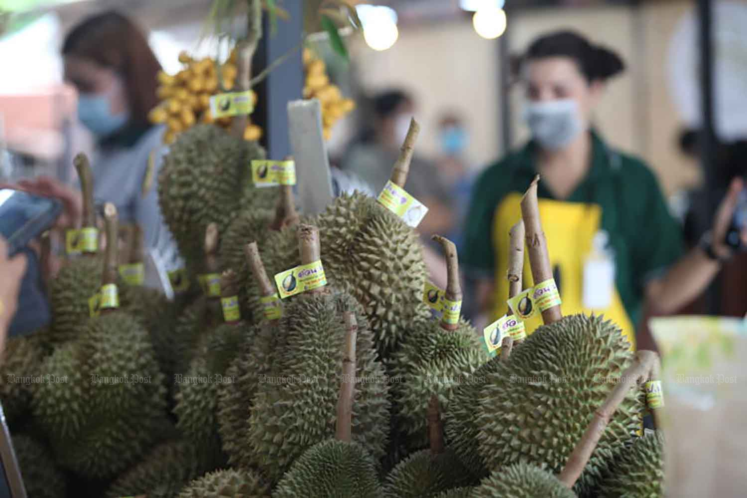 Durian fruits are available at a fair in Bangkok last year. (Photo: Apichart Jinakul)