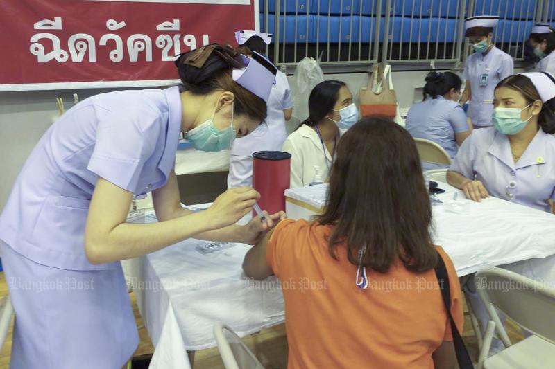 Covid-19 vaccination in Phuket on Thursday. (Photo: Achadtaya Chuenniran)
