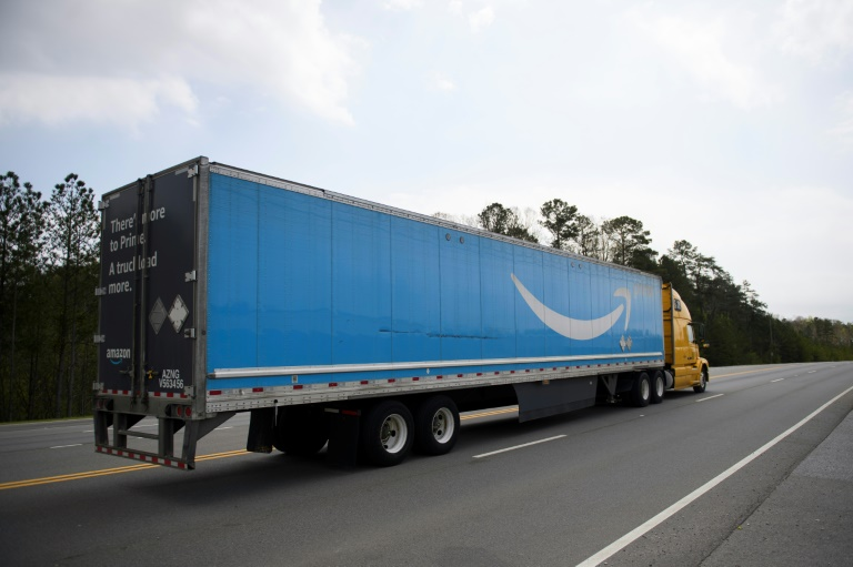 A truck bearing Amazon's logo is seen on a highway in the southern US state of Alabama on March 26, 2021.