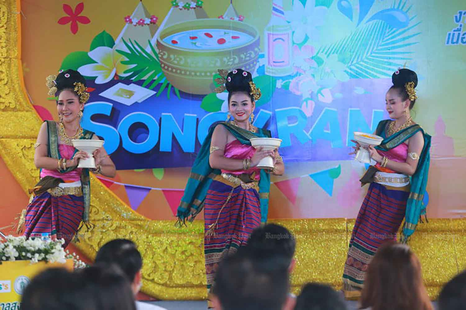 The Bangkok Metropolitan Administration organises an event to promote the Songkran festival late last month. (Photo: Somchai Poomlard)