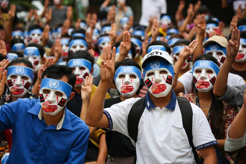 Myanmar protesters defy military as internet curbs test resolve