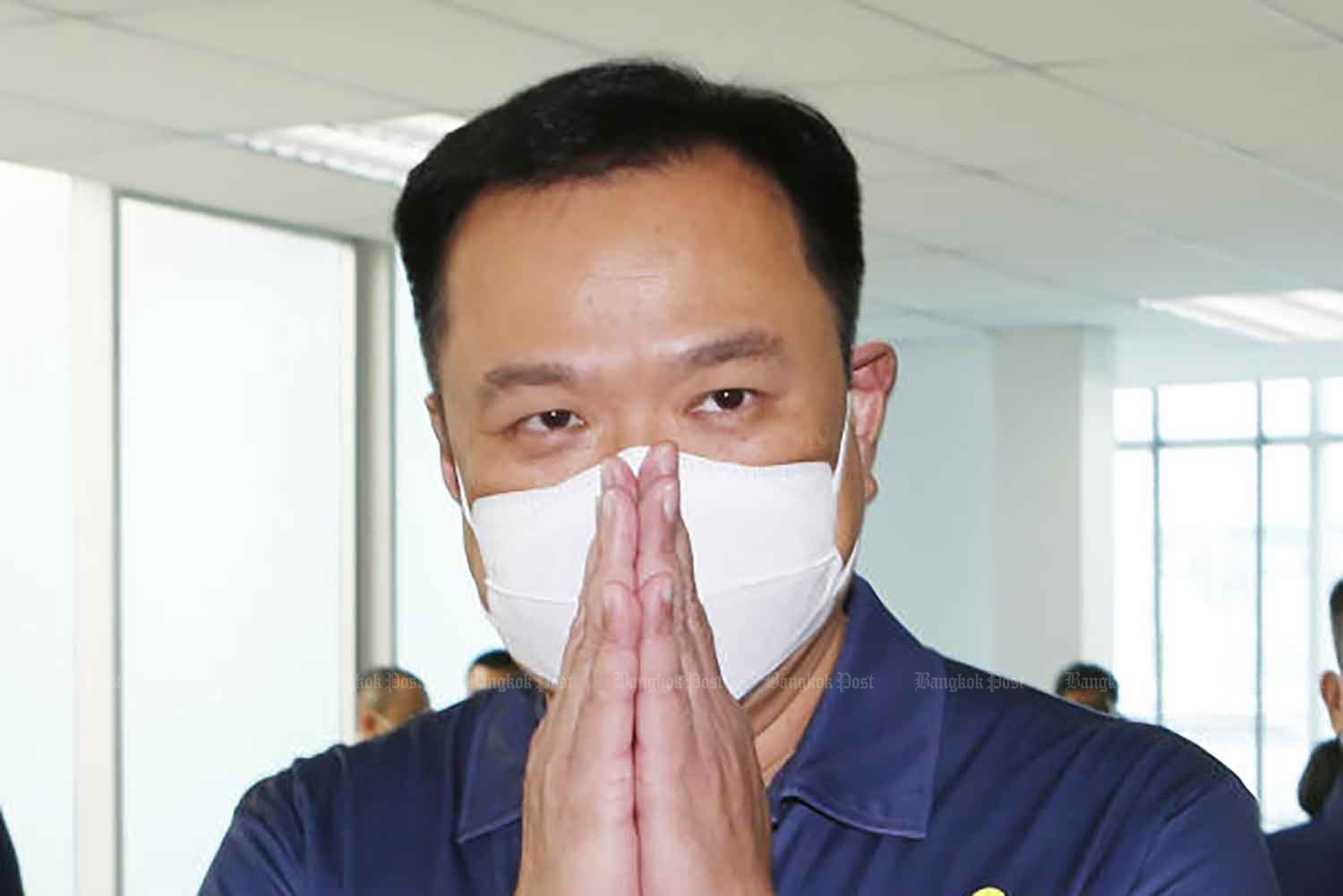 Deputy Prime Minister and Public Health Minister Anutin Charnvirakul is at the headquarters of his Bhumjaithai Party in Bangkok on Tuesday. (Photo: Apichit Jinakukl)