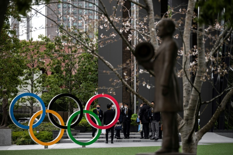 The Olympic Rings on display in Tokyo. North Korea announced Tuesday that its athletes  will not take part in the delayed Games later this year.