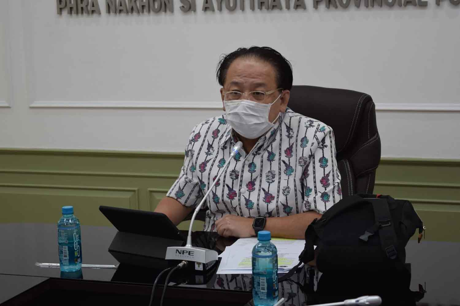Dr Peera Areerat, chief of the public health office of Ayutthaya, during the press conference on Tuesday. (Photo: Sunthon Pongpao)