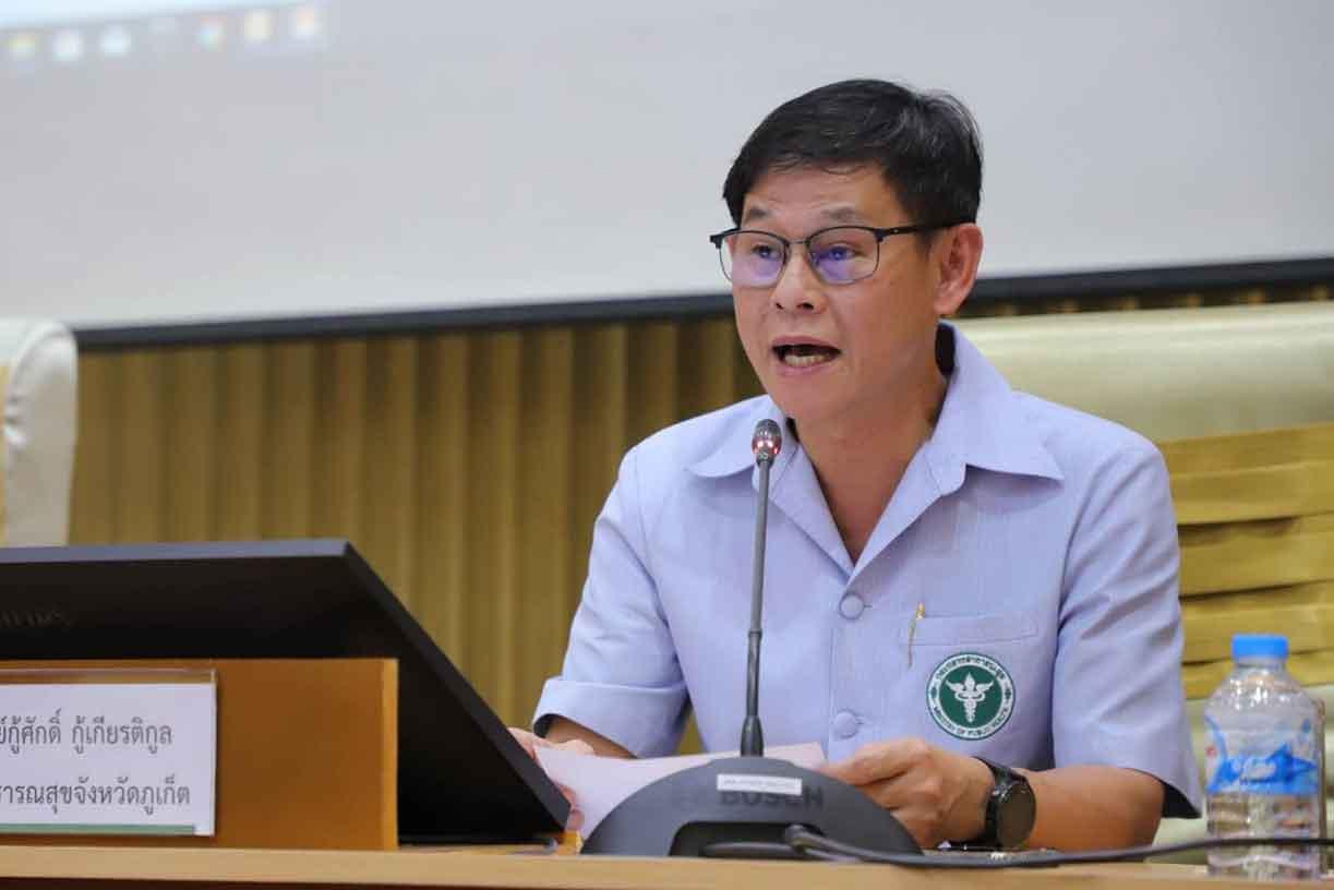 Phuket health chief Dr Koosak Kookiatkul at a press conference in Phuket.