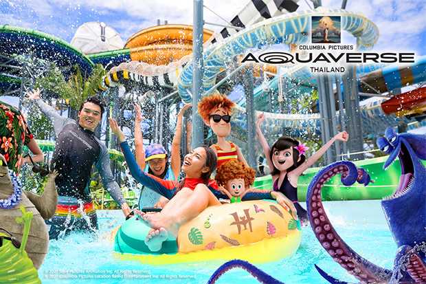 An artist's impression of the theme and water park based on Columbia Pictures studio to open near Pattaya in October. (Photo from Aquaverse)