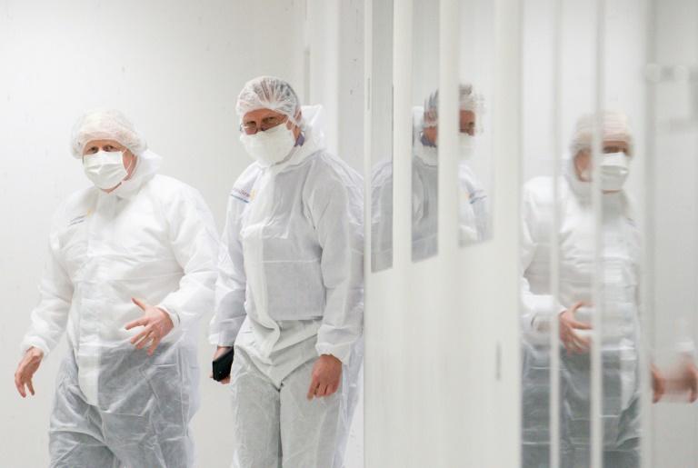 Britain's Prime Minister Boris Johnson visits an AstraZeneca facility in England.