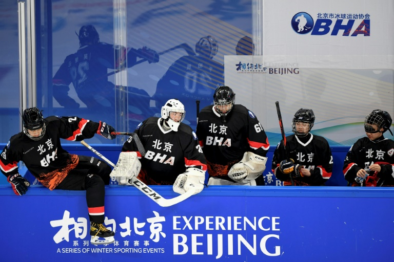 Players are seen at an ice hockey test event for the 2022 Beijing Winter Olympic Games -- the White House says it is not in talks about a possible joint boycott.