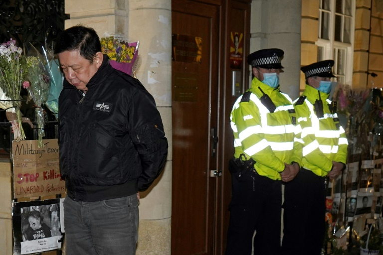 Diplomats loyal to Myanmar's junta have seized the country's embassy in London, leaving ambassador Kyaw Zwar Minn (left) locked out in the street.