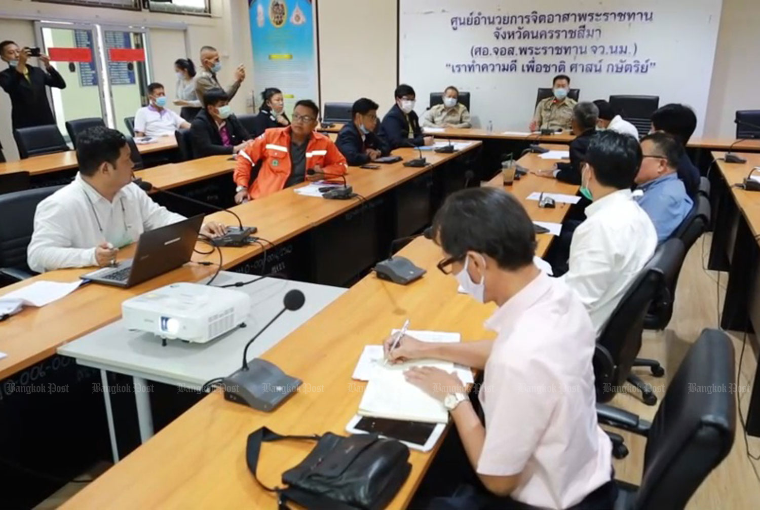 The Nakhon Ratchasima communicable disease control panel on Friday reports 11 more Covid-19 cases. (Photo: Prasit Tangprasert)