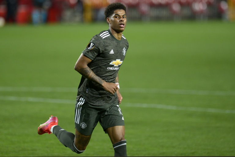 Manchester United forward Marcus Rashford scored for the eighth time in Europe this season.