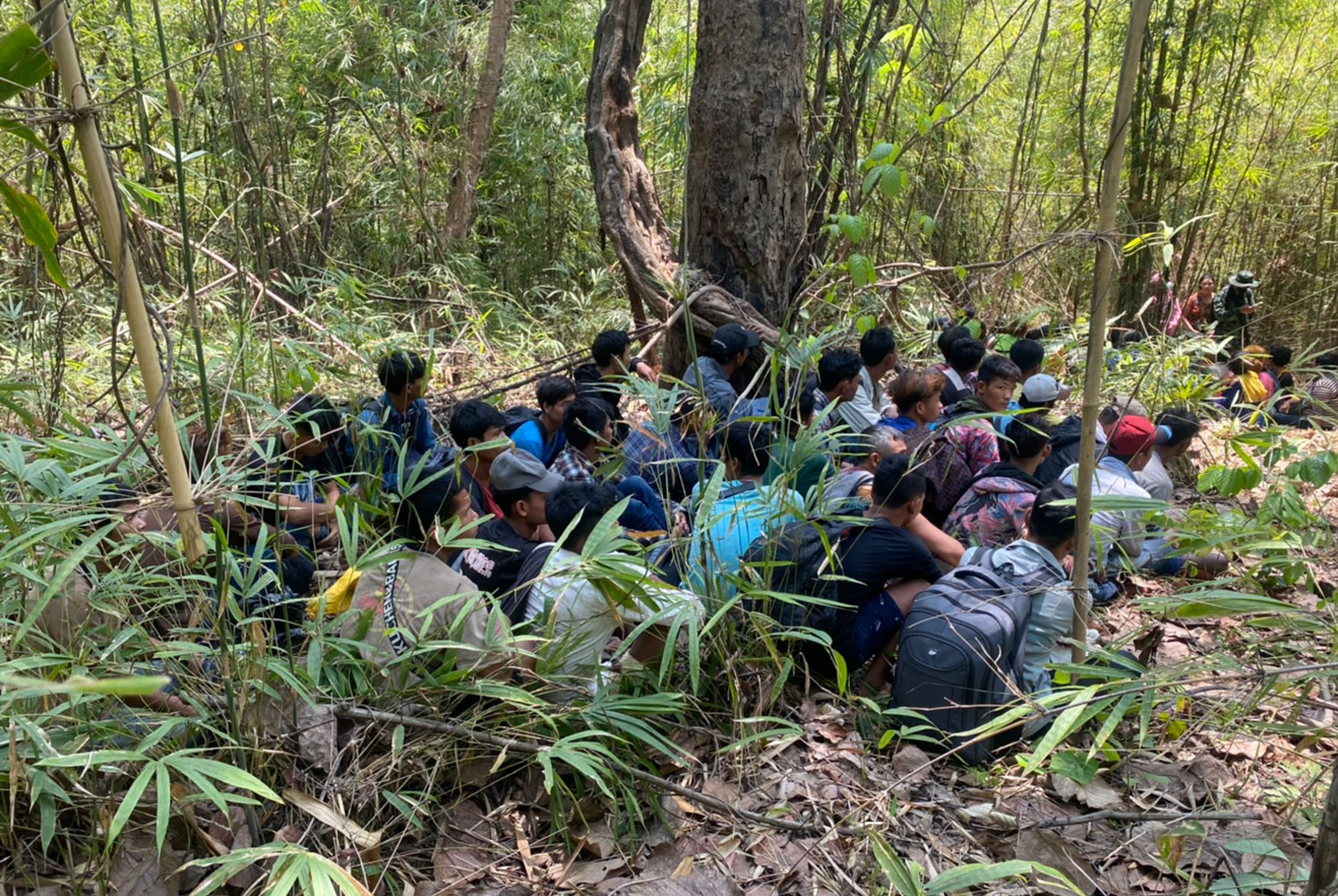 Some of the 59 Myanmar migrants found hiding in a forested area in Sangkhla Buri district of Kanchanaburi await transport to a border checkpoint on Saturday. (Photo: Piyarat Chongcharoen)