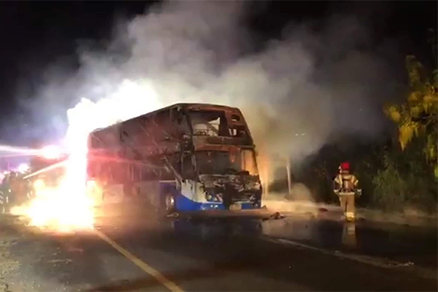 5 killed, 12 injured in tour bus fire