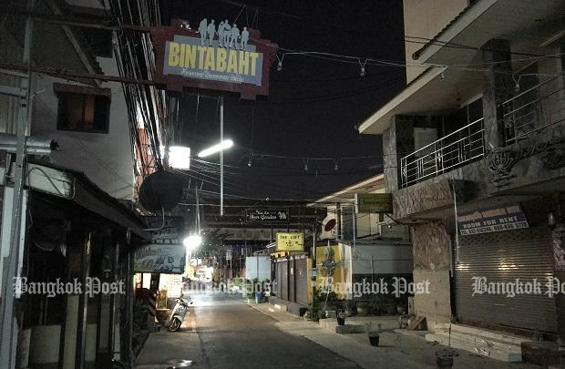 Hua Hin's red light district is deserted on Monday evening following the closure of bars and a spike in Covid-19 cases in Hua Hin and other districts of Prachuap Khiri Khan province. (Photo: Dave Kendall)