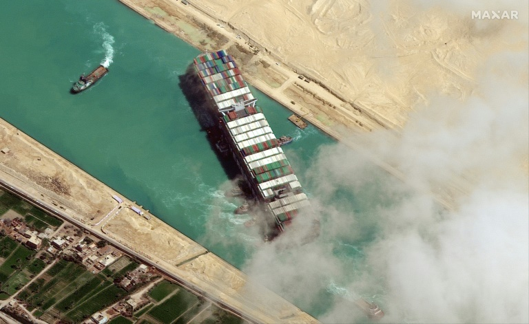 The 200,000-tonne MV Ever Given was left wedged across the narrow but crucial global trade artery by a sandstorm on March 23, triggering a mammoth six-day-long effort to dislodge it.