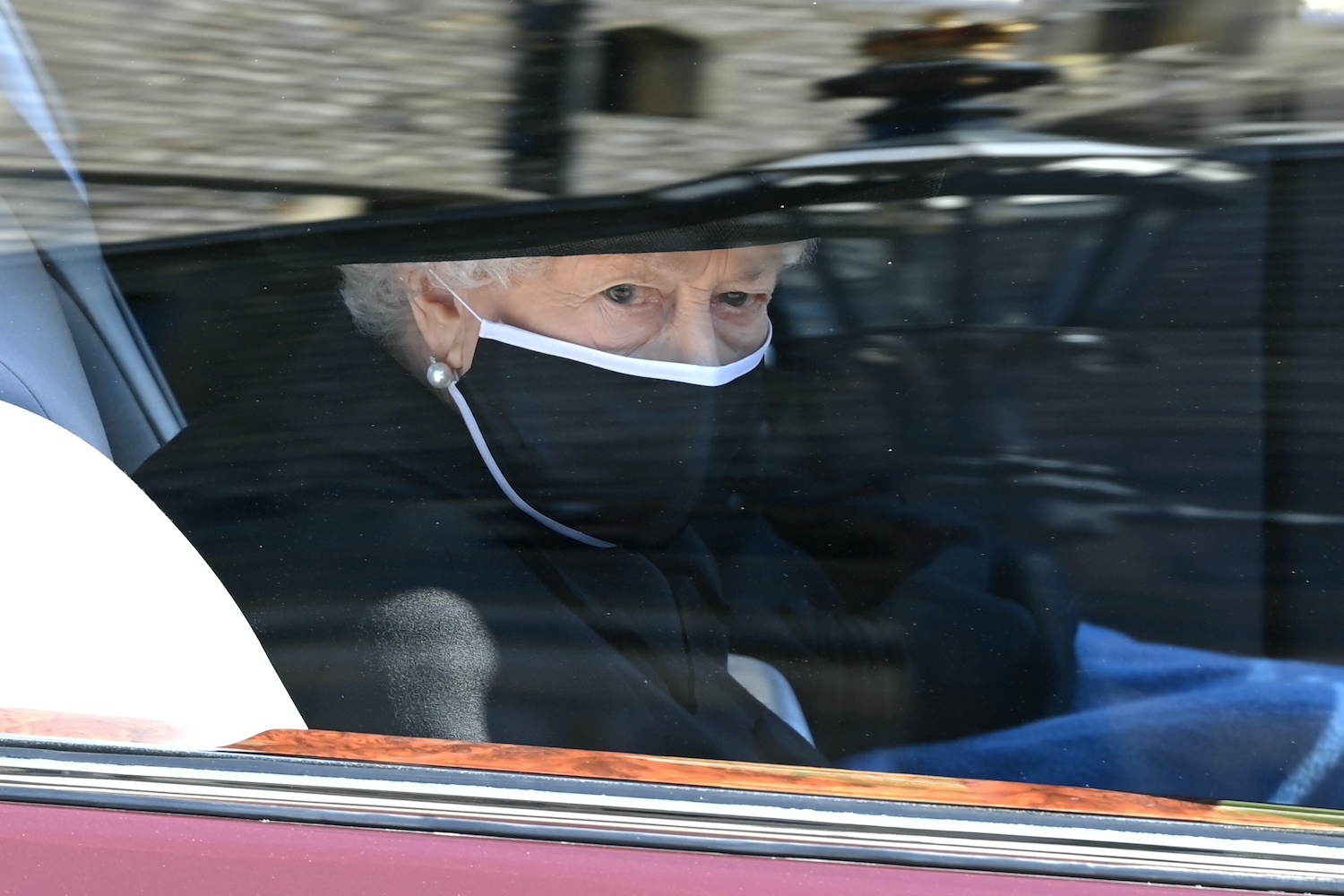 Queen Elizabeth arrives for the funeral of Prince Philip at Windsor Castle on Saturday. (Pool Photo via Reuters)
