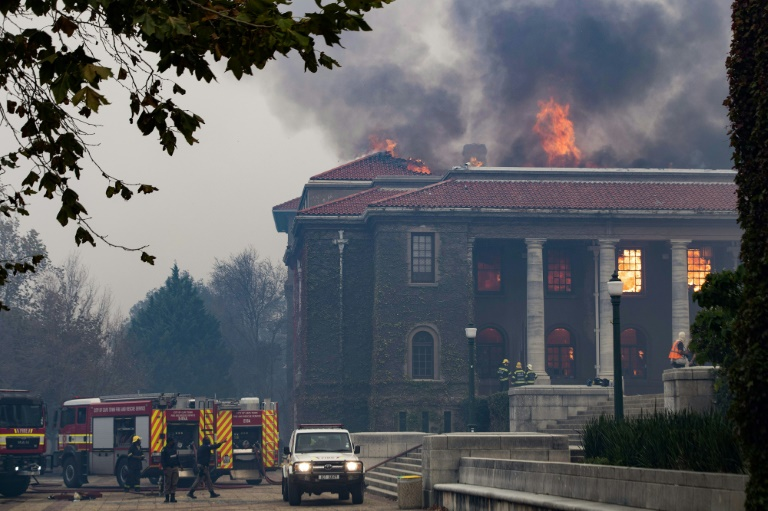 The African studies section of the library dating to the 1930s was gutted