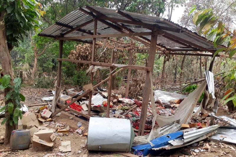 A destroyed structure is seen in the KNU Brigade 5 region in Myanmar's Karen state, after air strikes in the area following the February military coup. (AFP PHOTO / KNU DOO PLA YA DISTRICT)
