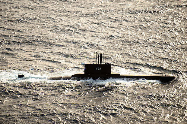The Indonesian submarine KRI Nanggala-402 participates in a photo exercise in the Java Sea during Cooperation Afloat Readiness and Training (Carat) Indonesia in 2015. (Photo from Wikimedia Commons)