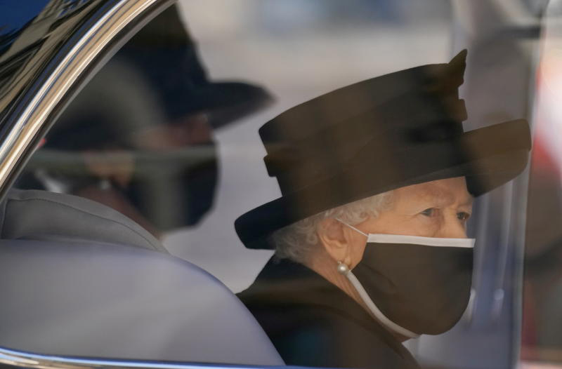 Queen Elizabeth II arrives for the funeral of Britain's Prince Philip, who died at the age of 99, at St George's Chapel, in Windsor, Britain, on Saturday. (Reuters photo)