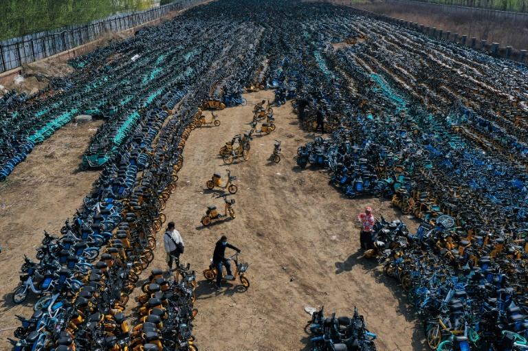Graveyard of the bikes: China's failed share-cycle scheme from above