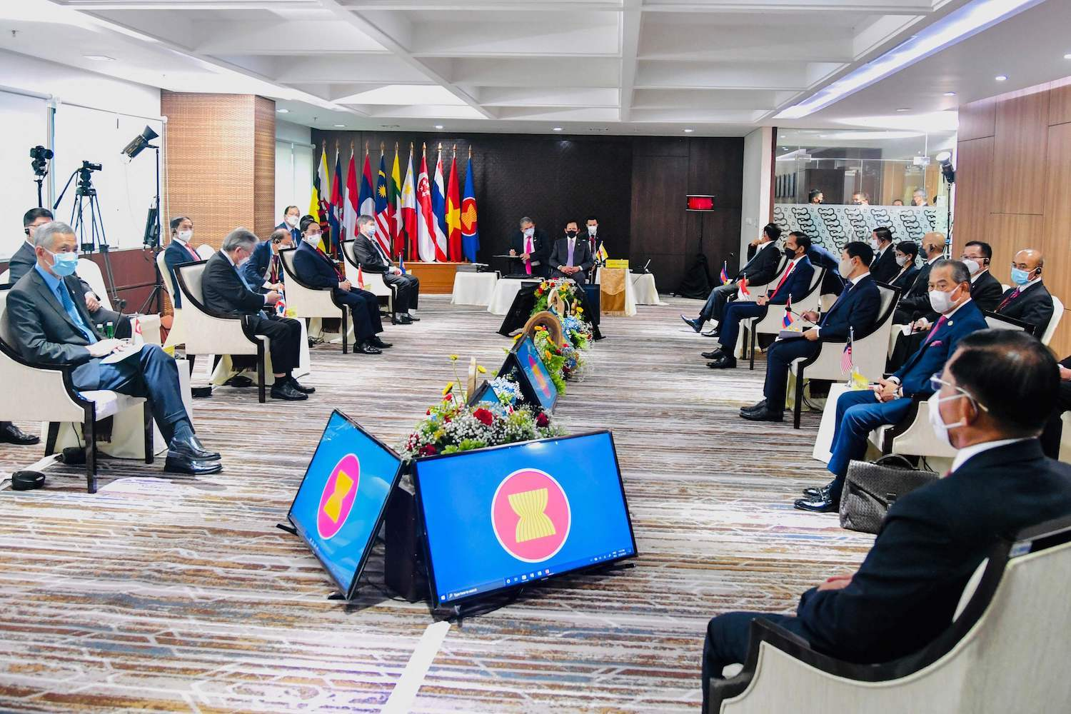 Myanmar junta chief Min Aung Hlaing (bottom right) attends a meeting of Asean leaders seeking to find a way to guide the country out of the crisis he created. (Indonesian Presidential Palace photo via AFP)