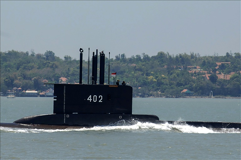 The KRI Nanggala 402, one of five submarines in the Indonesian fleet, disappeared early Wednesday during live torpedo training exercises off Bali. Debris found on Saturday was confirmed to have come from the sub, navy officials said. (AFP Photo)