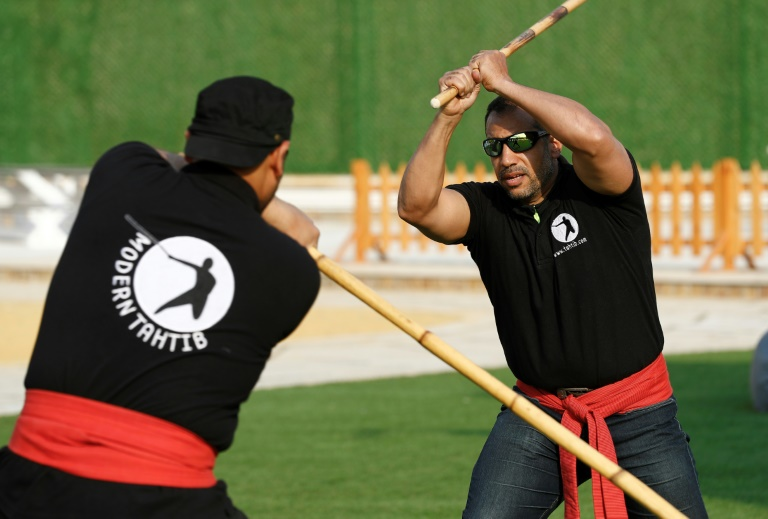 A training session of Egypt's combative sport of 'tahtib' (stick-fighting), in the capital Cairo.