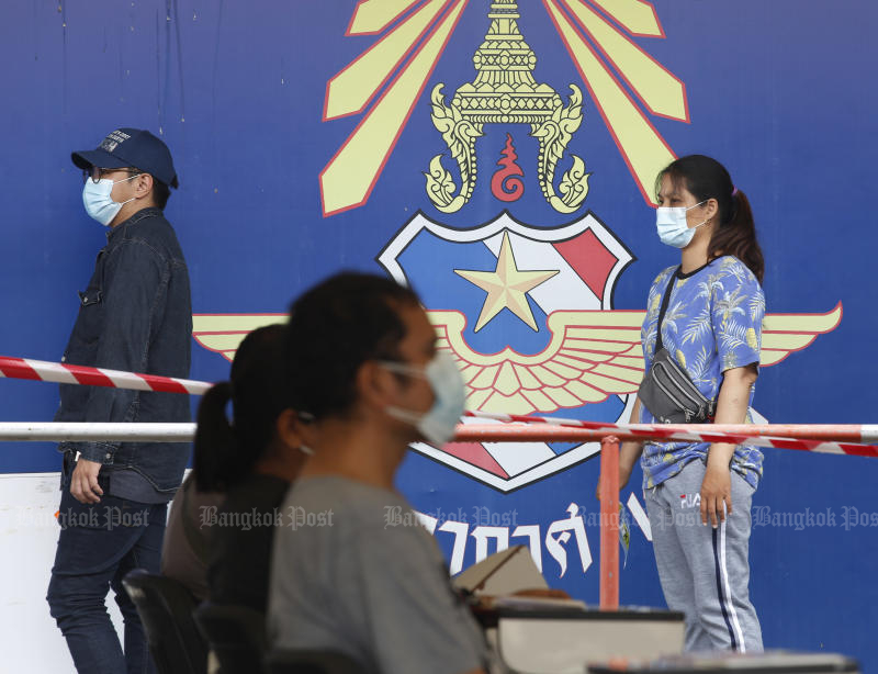The Royal Thai Air Force opens the Thupatemee sports stadium to be a temporary coronavirus testing site until May 15. (Photo by Apichit Jinakul)