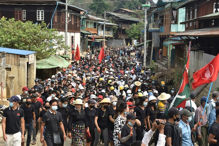 Anti-coup protesters in Myanmar march again despite a bloody crackdown by the military junta.