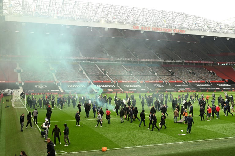 Supporters protesting against Manchester United's owners invaded the pitch at Old Trafford.