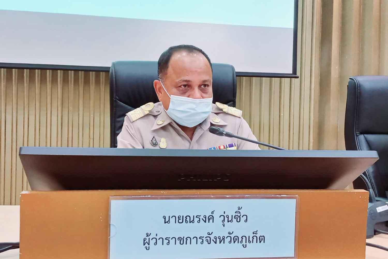 Phuket governor Narong Woonciew at a press conference on Monday. (Photo: Achadtaya Chuenniran)