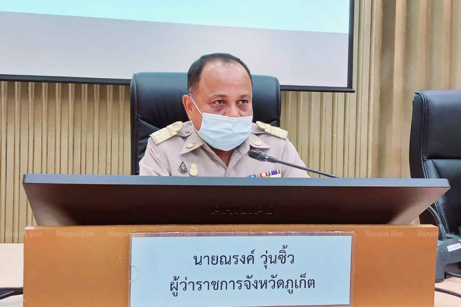 Phuket governor Narong Woonciew at a press conference on Monday. (Photo: Achadtaya Chuenniran)