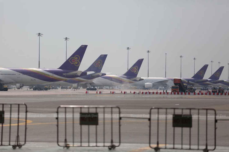 Thai Airways International planes at Suvarnabhumi Airport. (Bangkok Post file photo)