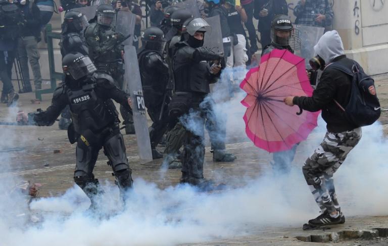 Demonstrators clash with police in Bogota, on April 28, 2021.