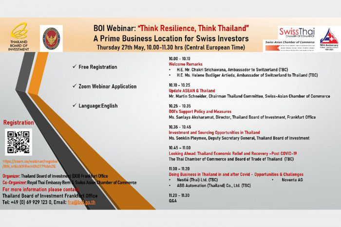 """BOI Frankfurt invites you to join """"Think Resilience, Think Thailand"""" – A Prime Business Location for Swiss Investors"""