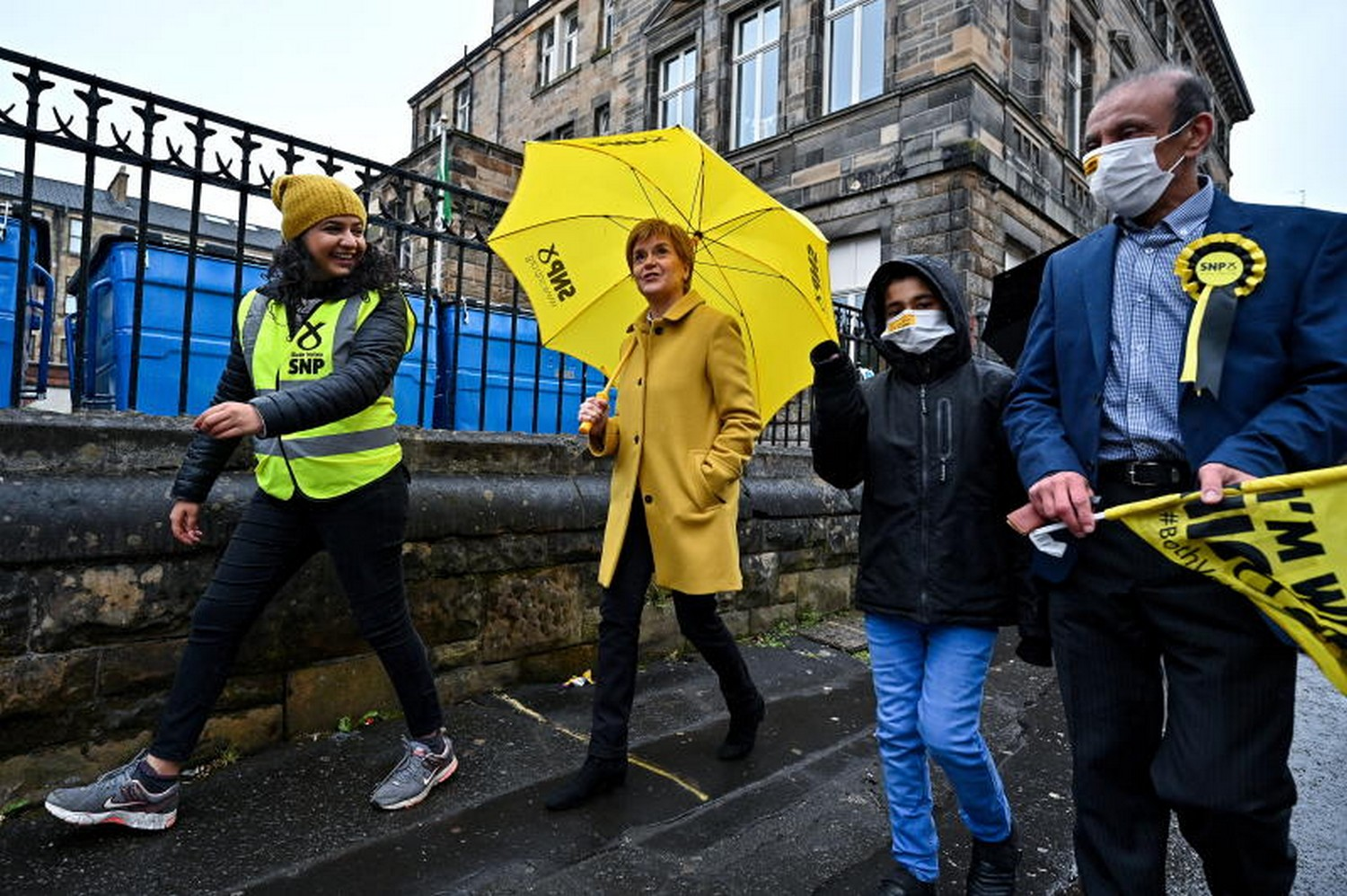 Scotland's First Minister Nicola Sturgeon and candidate Roza Salih meet voters at Annette Street School polling station as Scotland's parliamentary election voting began,   in Glasgow, on Thursday. (Photo: Reuters)