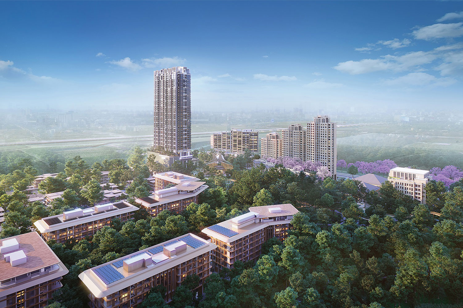 A digital rendition portrays the Forestias, a 125-billion-baht mixed-use development project on Bangna-Trad Road with a focus on sustainability, well-being and intergenerational living.